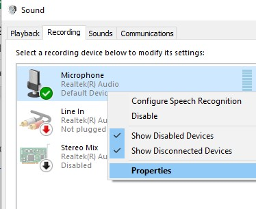 Headset Microphone and select Properties