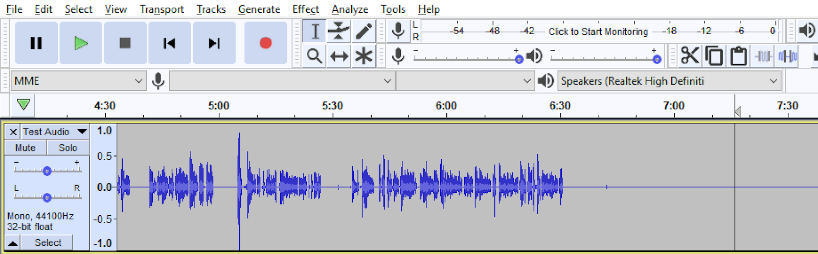 Audio file displayed in Audacity with a portion of the sound file removed