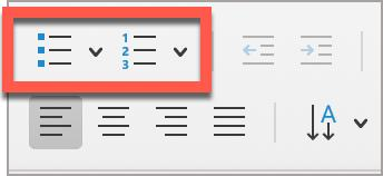 Two PowerPoint built-in list styles buttons, Bullets and Numbering