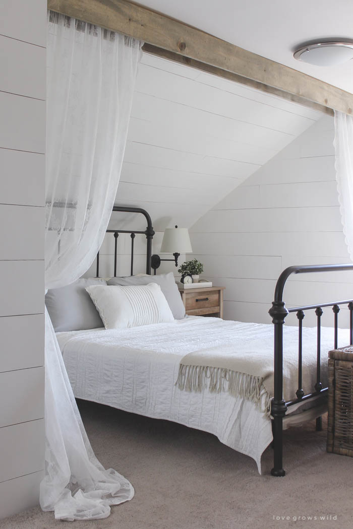 Wood Beam with Curtains: These 50 Cheap & Easy Farmhouse Decor Ideas will help you save money and transform your space.