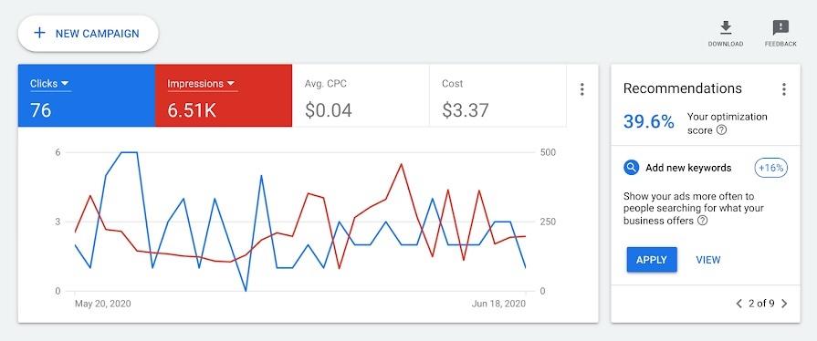 Screenshot of Google Ads analytics segment.