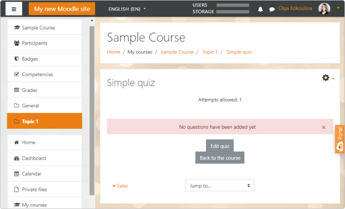 A new Moodle course is ready