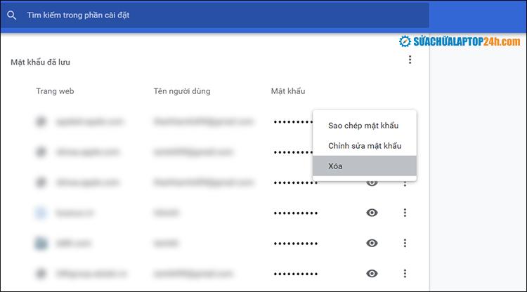 Xóa mật khẩu đã lưu trên Chrome