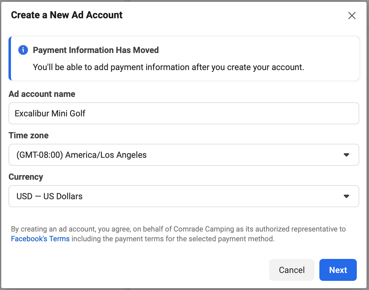 New ad account in FB manager