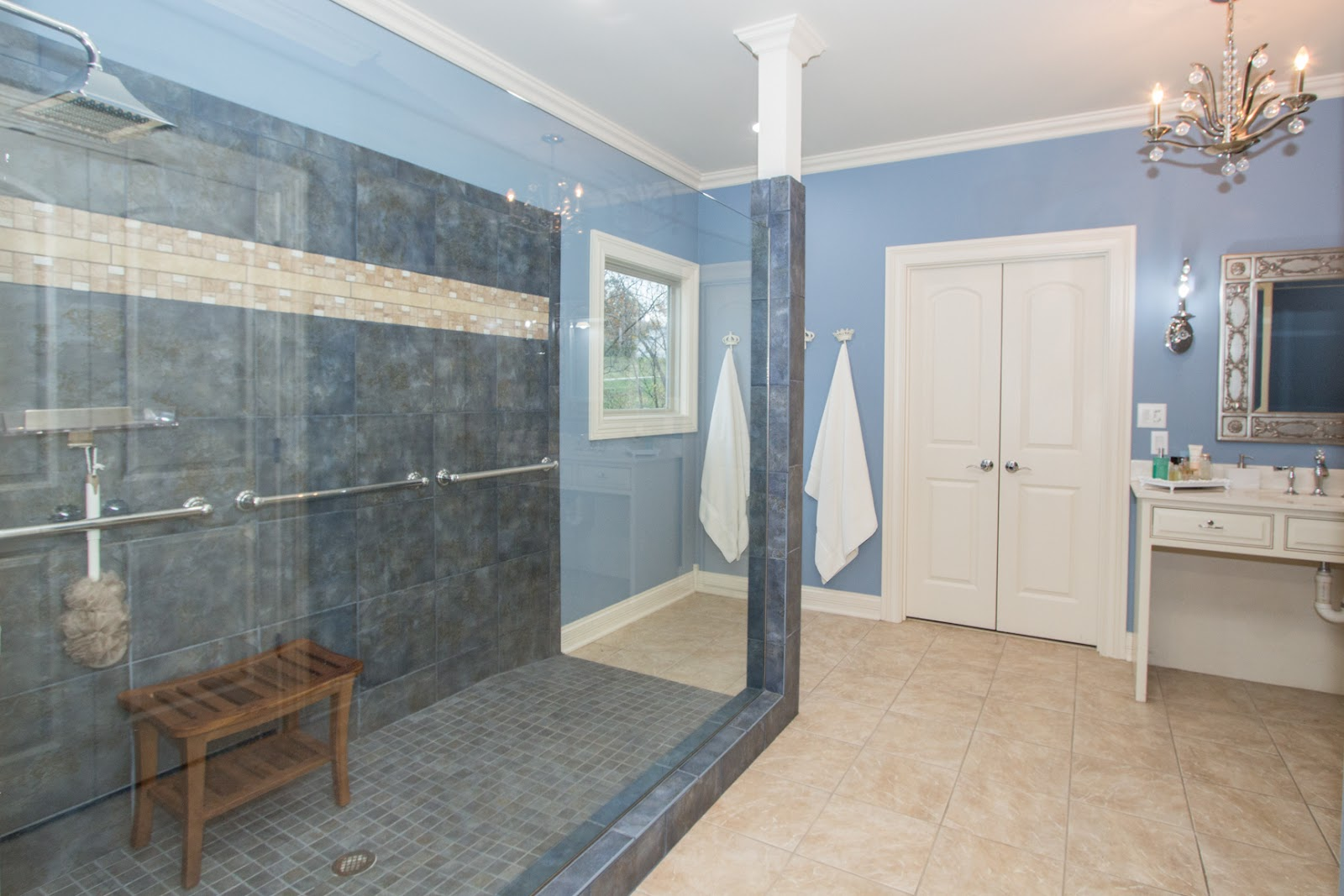 Great zero entry shower in spa like Master Bath! Bath also features two vanities and walk in closet.  A must see!! This large shower is in 10901 Jordain Drive, Louisville, KY. 40241, currently listed by Pam Ruckriegel 502-435-5524