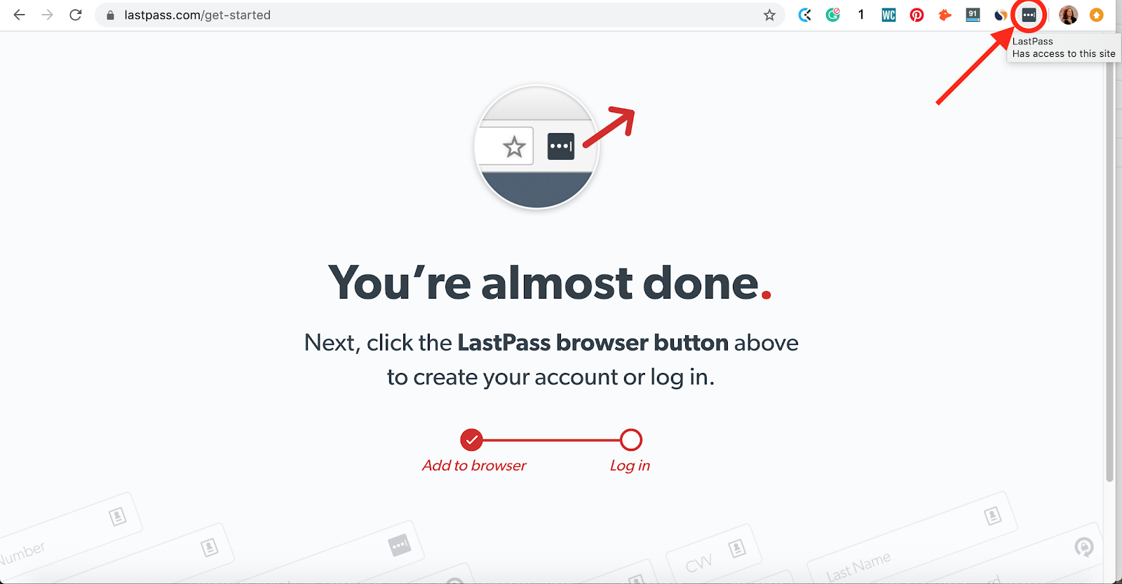 This is where your LastPass password manager Chrome browser extension will appear. Part of the article by Hana Clode Marketing 'LastPass Password Manager - Apps to Make Your Life Easier'.