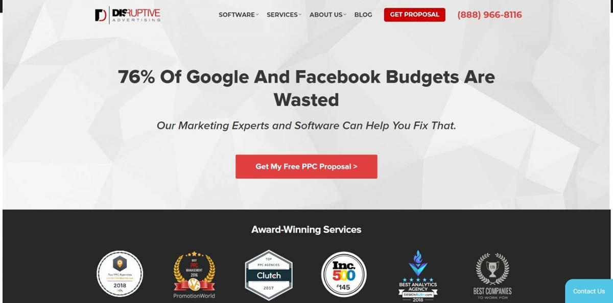 Página promocional da agência de propagandas em mídias sociais Disruptive Advertising