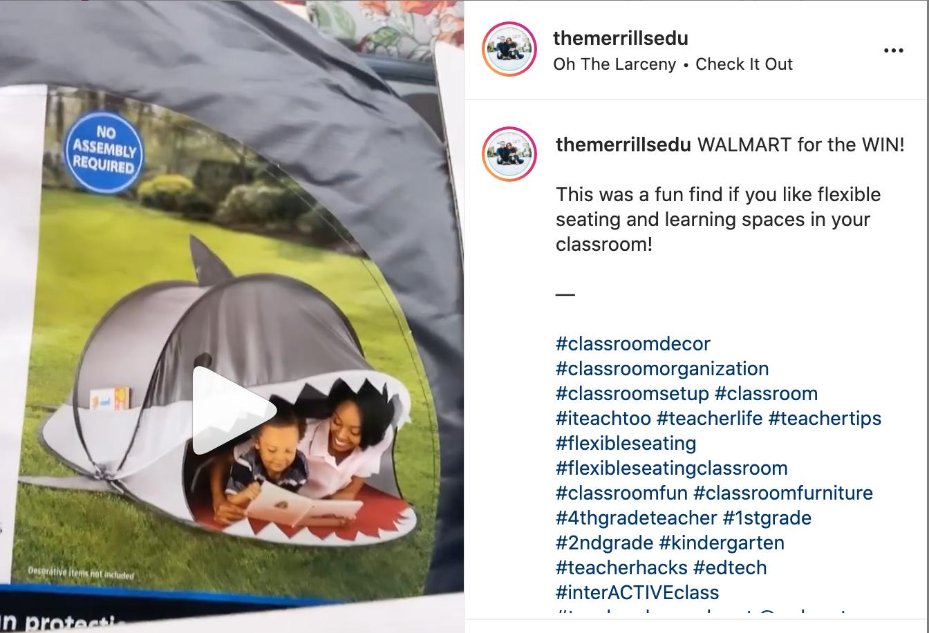 Kristin Merrill shows a shark tent she found for ten dollars on her Instagram.