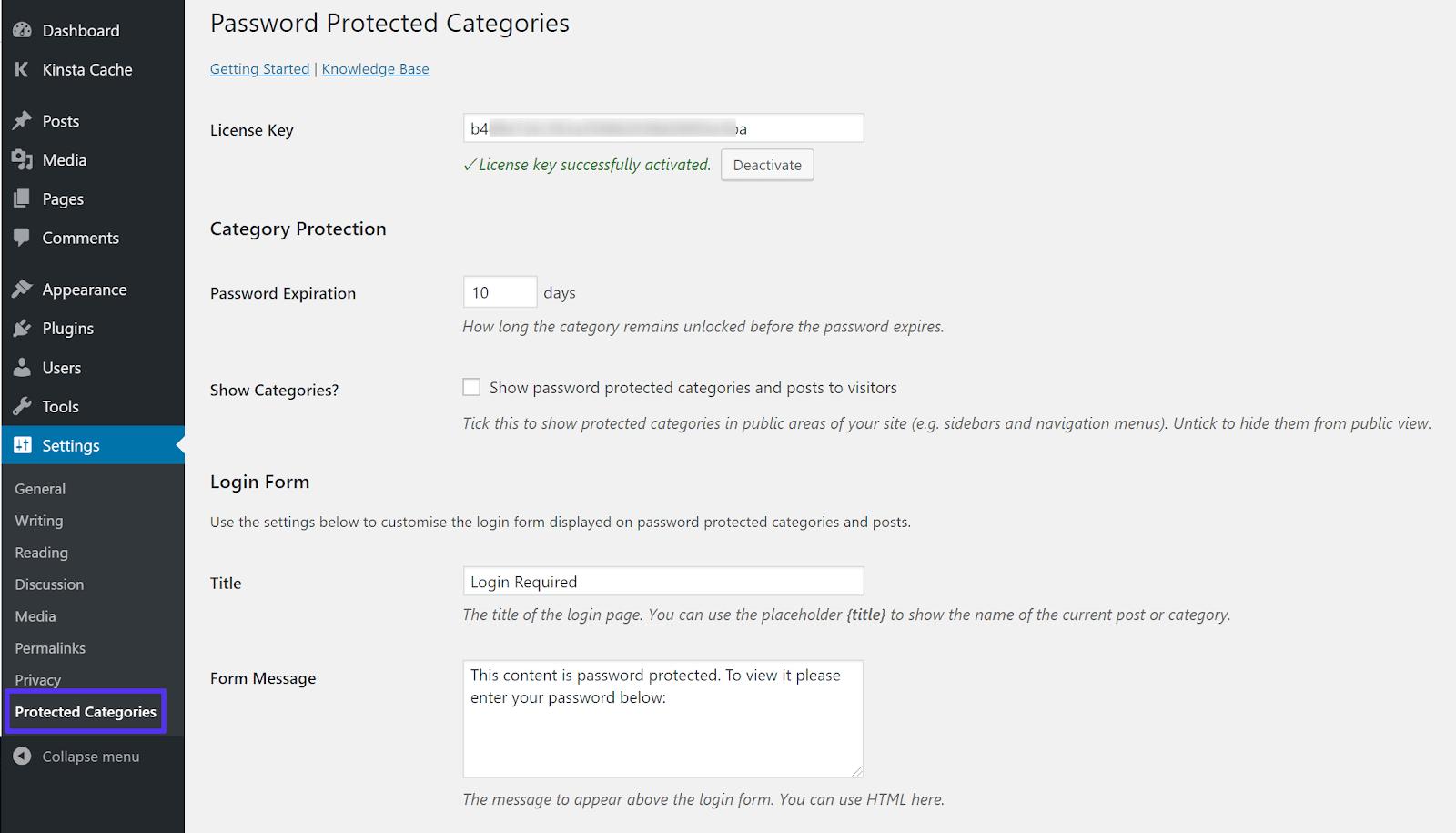 Cài đặt danh mục được bảo vệ bằng mật khẩu