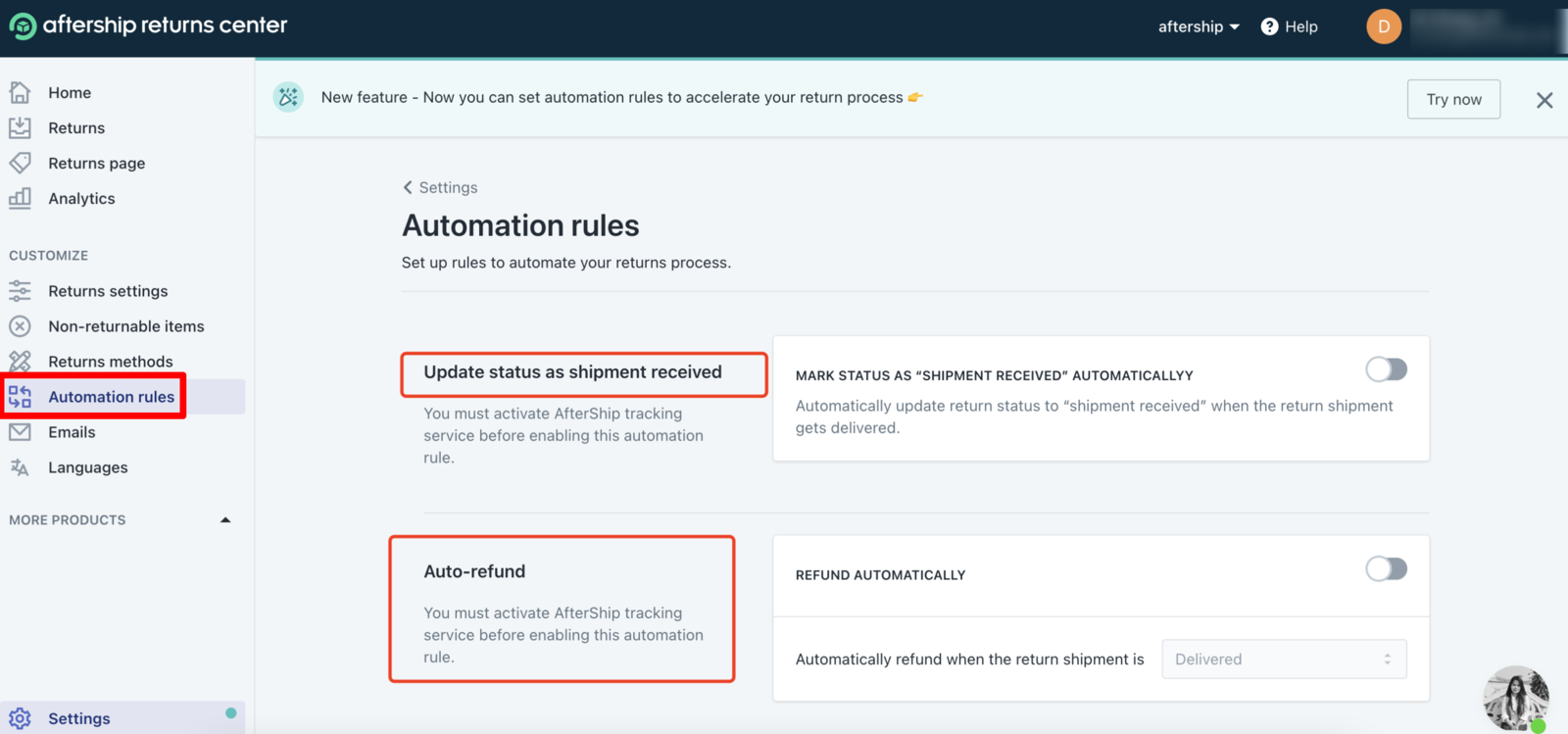 Expedite the returns process with the new automation rules