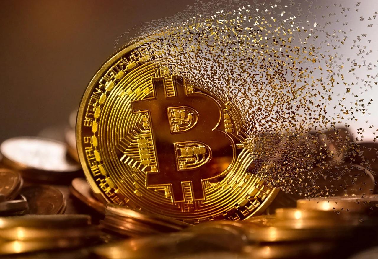 bitcoin avec des morceaux d'or
