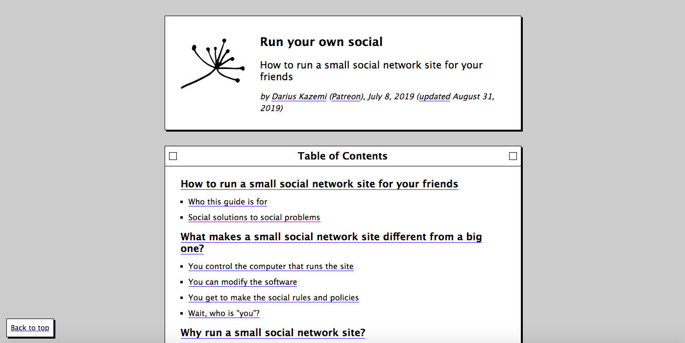 The Table of Contents for Darius Kazemi's 'Run Your Own Social' network guide.