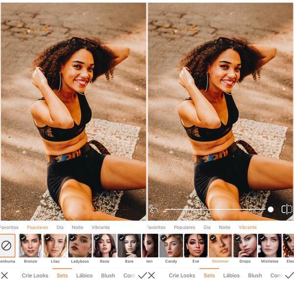 Foto de uma mulher negra sentada na rua, sendo editada pelo AirBrush com a ferramenta Maquiagem