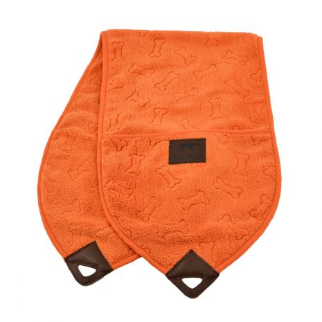 an orange towel with a dog bone pattern on it for article on how to keep your car clean