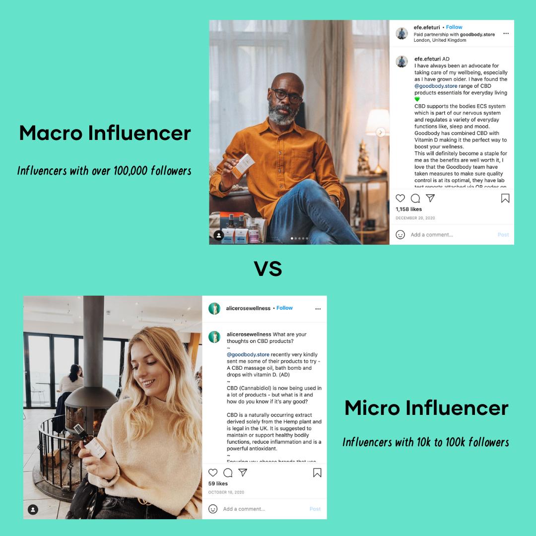 micro & macro influencer example
