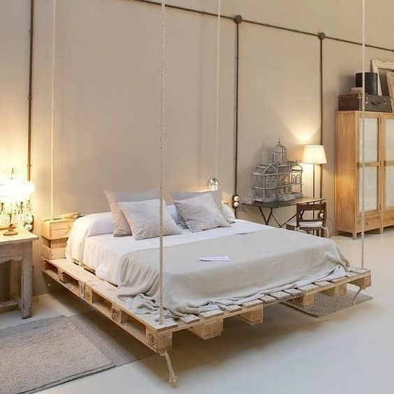 Floating Bed Frame with Old Pallets