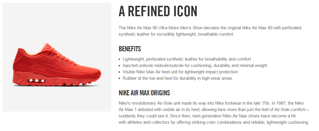 Red Nike trainer with rich product information
