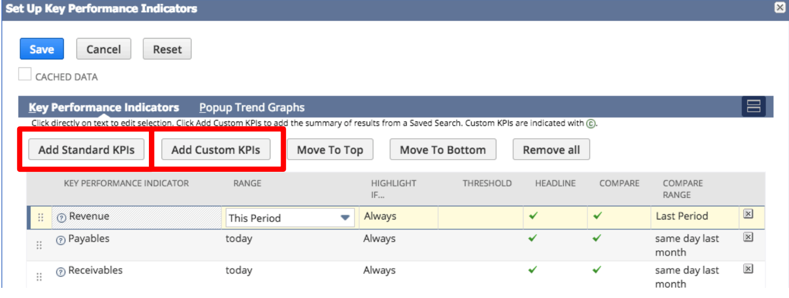 The set up menu of the KPI dashboard field, showing how you can add standard or custom KPIs, and adjust the location of the field.