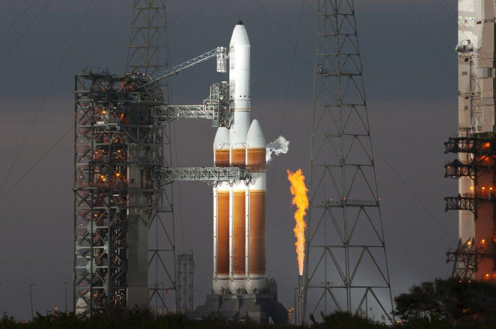 A United Launch Alliance Delta IV Heavy rocket, like the one shown here in November in Florida, is prepared to launch a classified payload for the U.S. National Reconnaissance Office from California on Monday. File Photo by Joe Marino/UPI