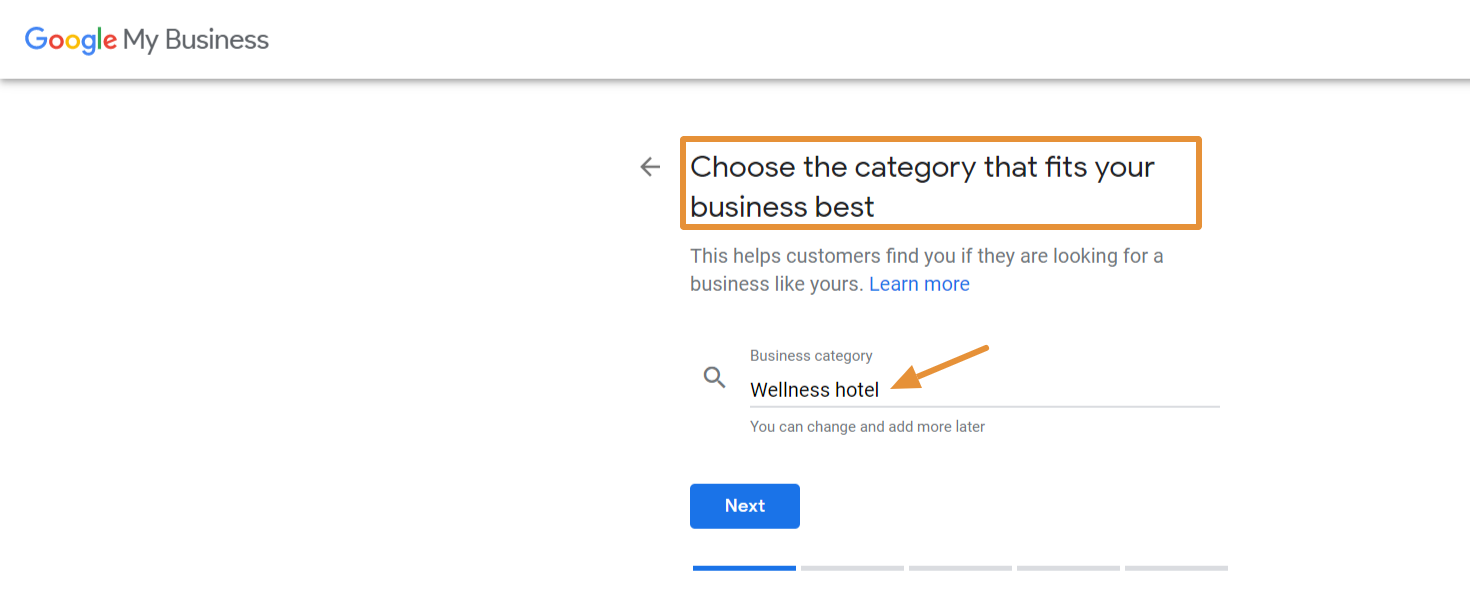 Choose a business category