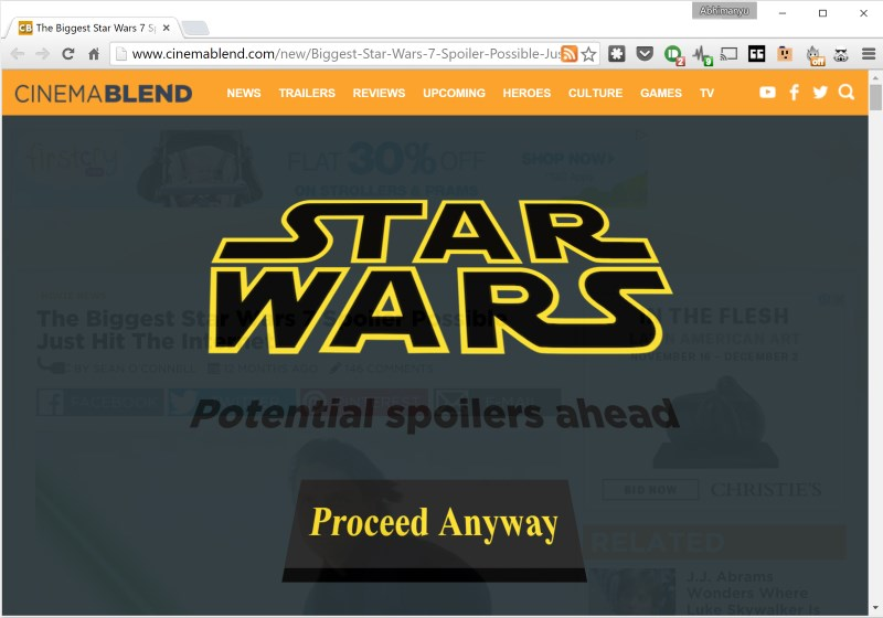 This handy extension keeps you from accidentally reading pages with Star Wars spoilers