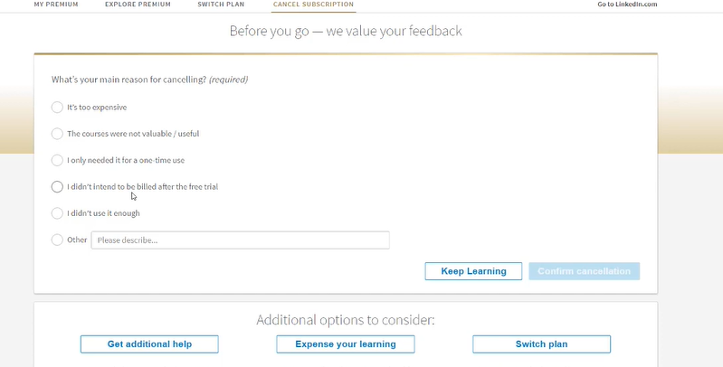 choose a reason for linkedin premium subscription cancellation