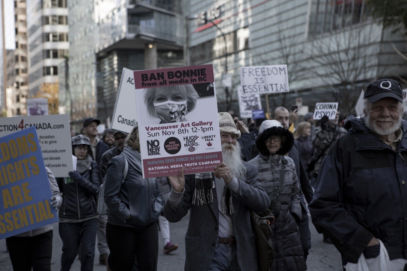 "Protestors at a ""Ban Dr. Bonnie Henry"" demonstration at a Vancouver Freedom Rally in Vancouver in November, 2020."