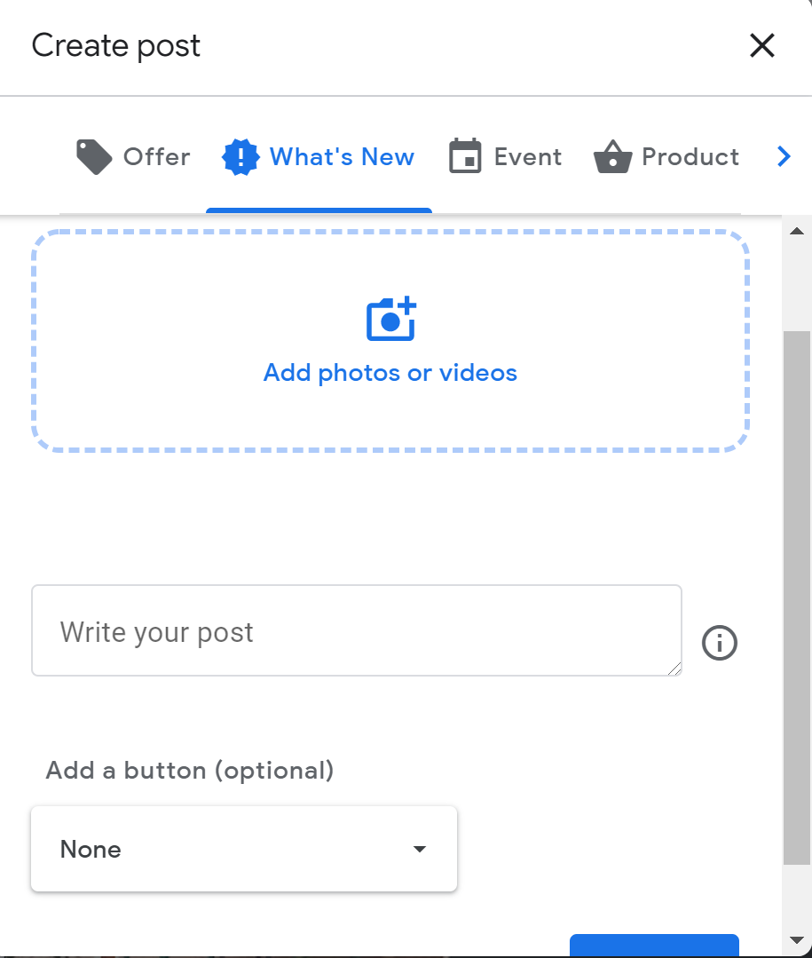 creating a new post on Google My Business