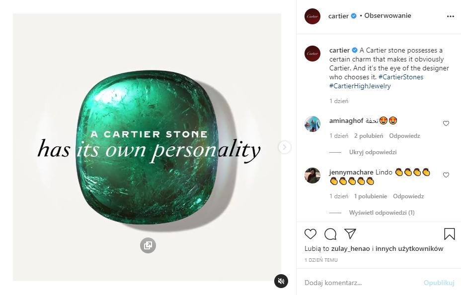 Screen posta firmy Cartier