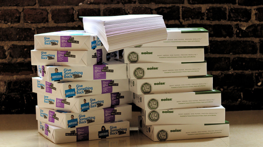 several reams of paper stacked