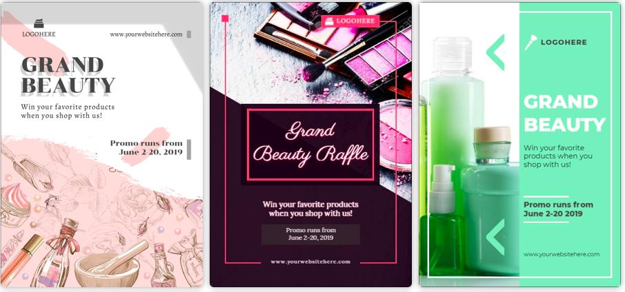 Plantillas de anuncios de productos o anuncios publicitarios disponibles en Designmaker.