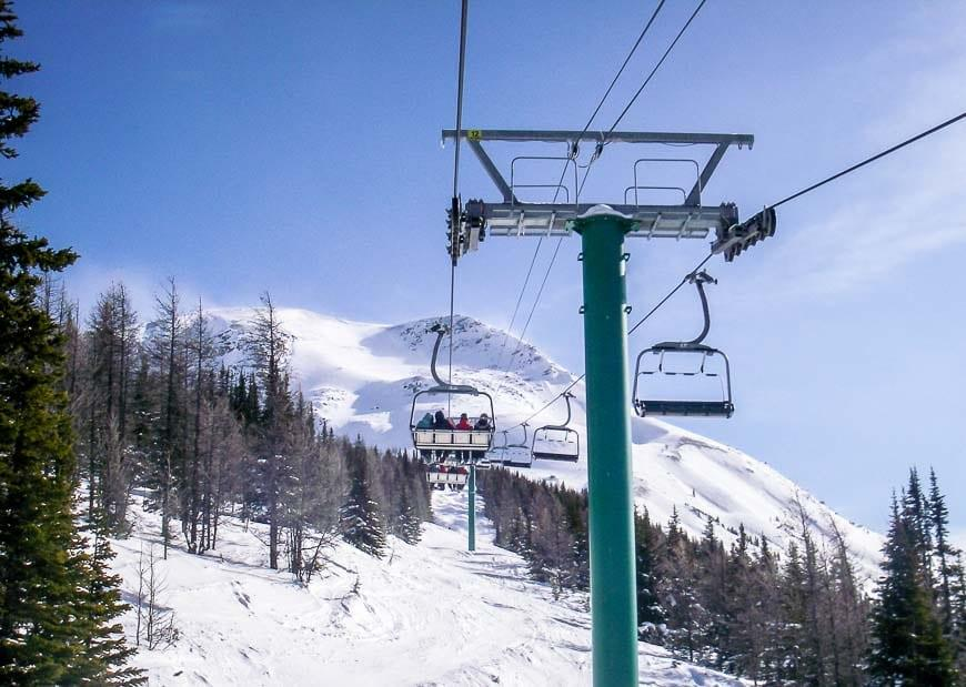 Riding the chairlift at the Lake Louise ski resort