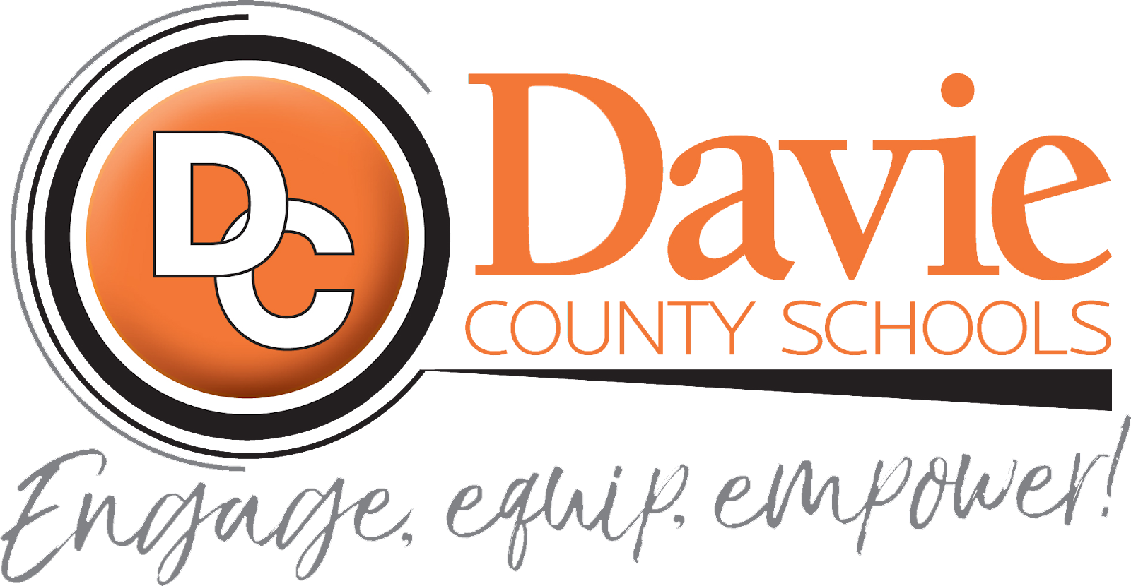 Davie County Schools logo with tagline, Encourage, equip, and empower