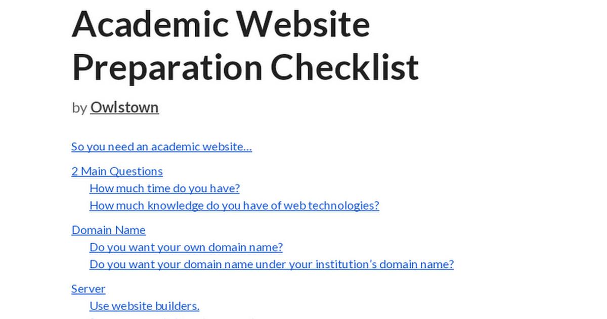 Lab Website Checklist - Google Docs