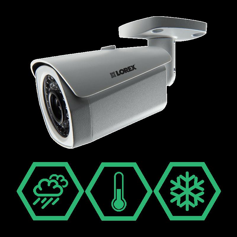 Digital IP security cameras with weatherproof & vandal resistant housings