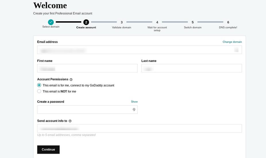 Trang thiết lập để tạo địa chỉ email doanh nghiệp với GoDaddy.