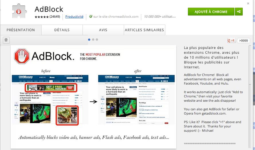 Google chrome extension blocage publicité