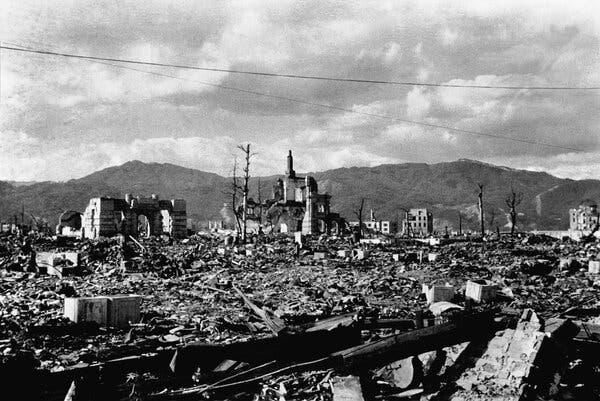 A view of Hiroshima after the bombing from Higi-Yama, a hill that rises in the eastern part of the city, about one to two months after the bombing.