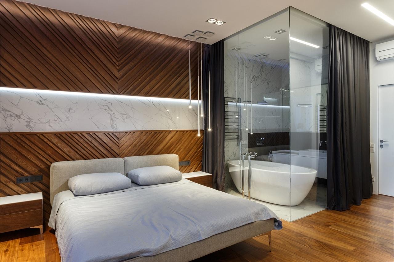 Glass Bathroom Walls in Modern Bedroom