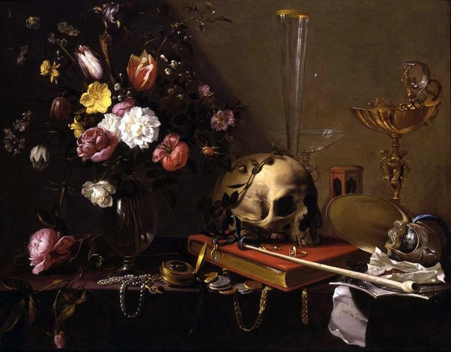 Adriaen_van_Utrecht-_Vanitas_-_Still_Life_with_Bouquet_and_Skull 1642