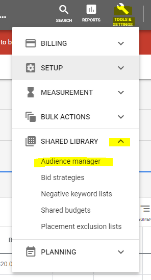 Google custom audience menu