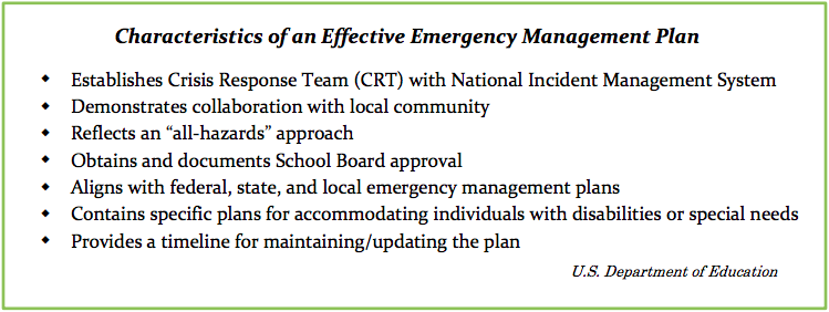 "Characteristics of an Effective Emergency Management Plan: Establishes Crisis Response Team (CRT) with National Incident Management System, Demonstrates collaboration with local community, Reflects an ""all-hazards"" approach, Obtains and documents School Board approval, Aligns with federal, state, and local emergency management plans, Contains specific plans for accommodating individuals with disabilities or special needs, Provides a timeline for maintaining/updating the plan"