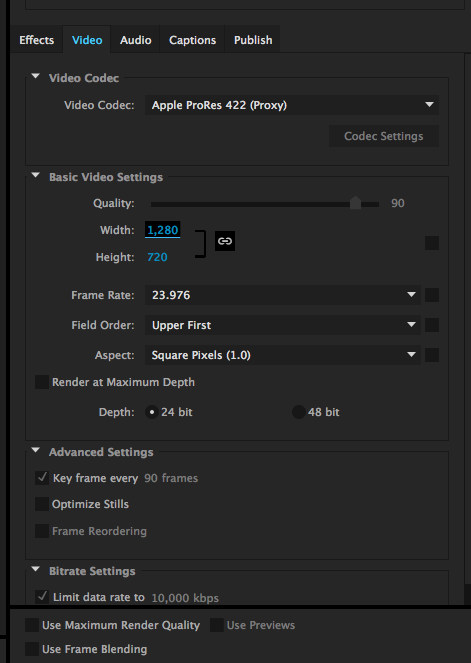 Premiere video output settings