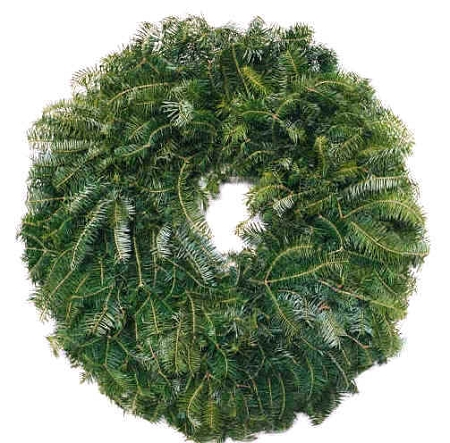 """Each wreath is made of fresh boughs pulled from the Christmas tree fields. Mounted on a metal ring for easy hanging. The 24"""" wreath is the typical """"door sized"""" option"""