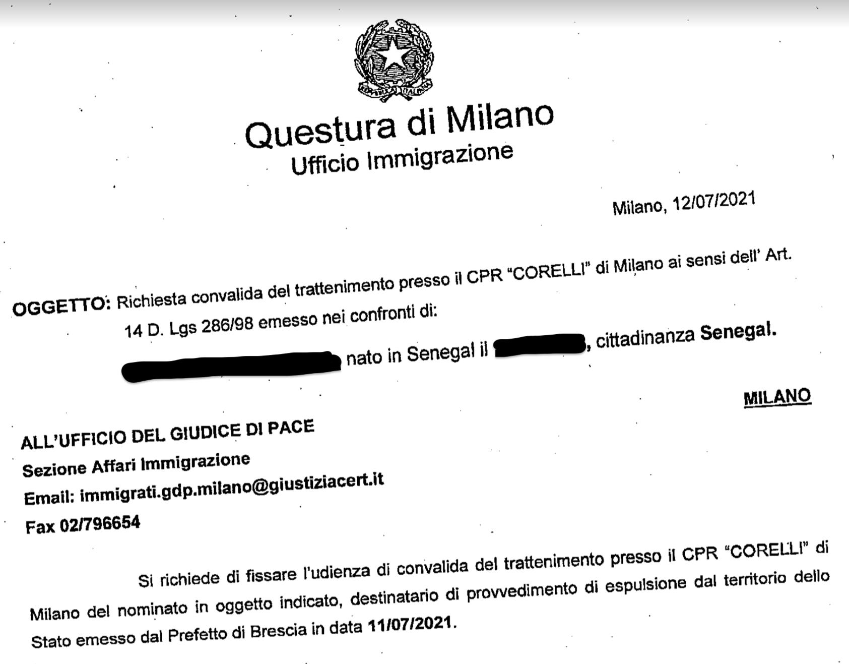Richiesta convalida del trattenimento della Questura di Milano
