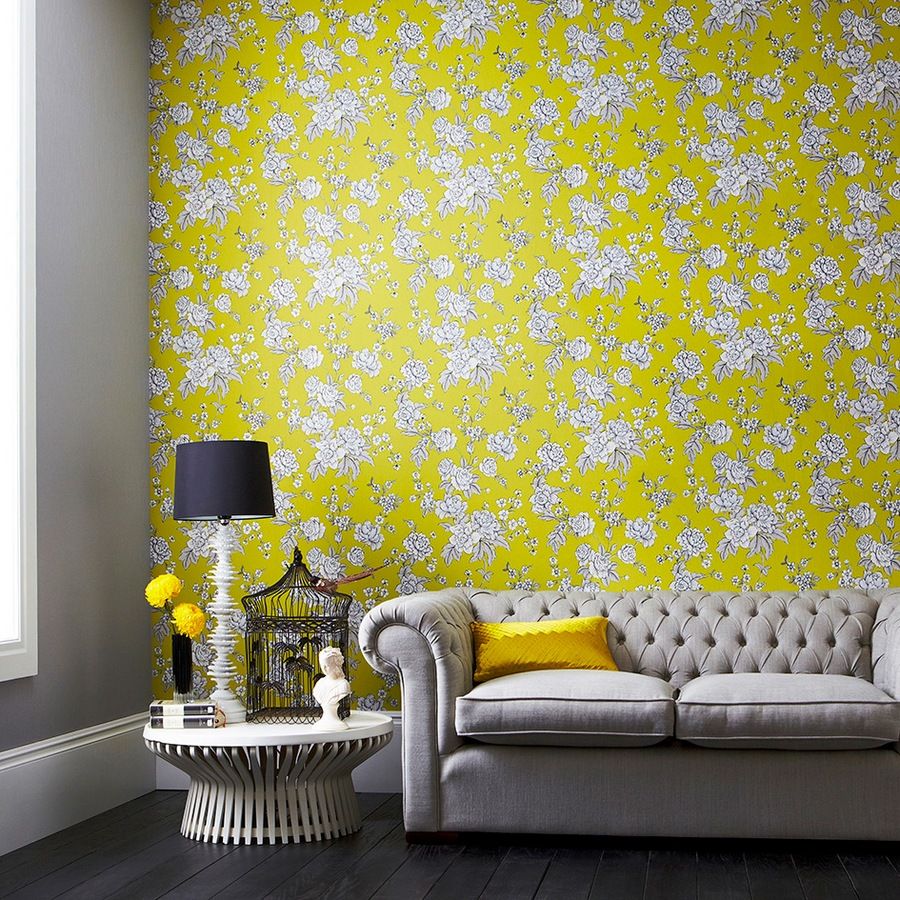 yellow wallpaper decorated with white flowers