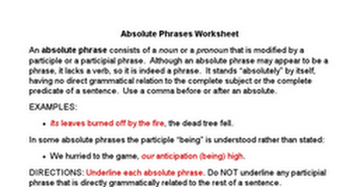 Absolutes Worksheet Google Docs – Participial Phrase Worksheet