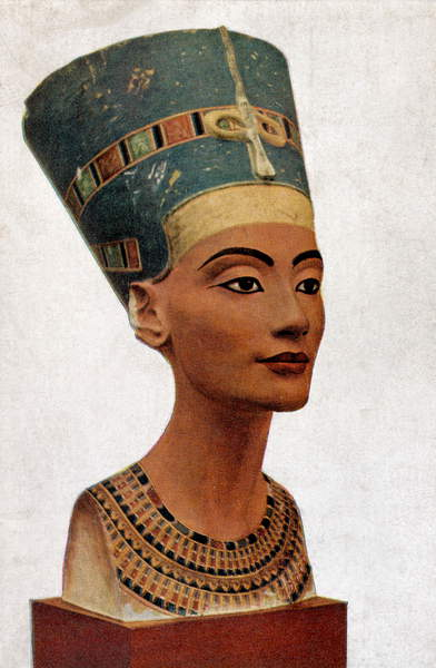 Image of Queen Nefertiti of Egypt-portrait of bust by Thutmis 1360 BC, Thutmose (1360 BC) / Egyptian, © Lebrecht Authors / Bridgeman Images