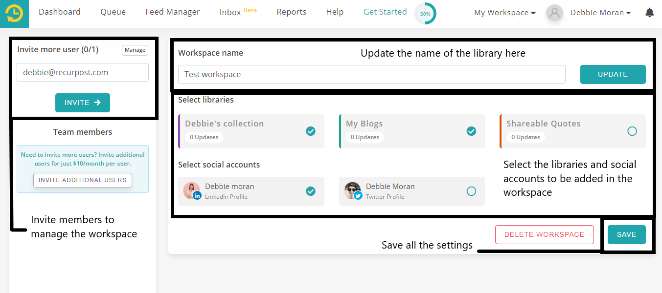 how to use workspace feature on recurpost social media scheduling tool