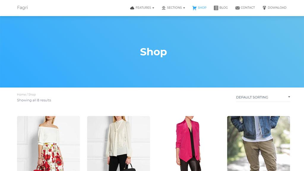 template para loja virtual fagri